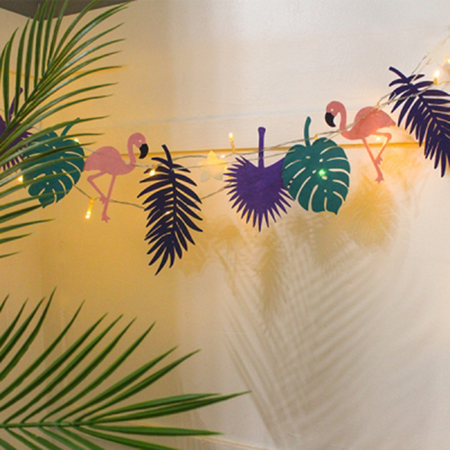 LED Fühlte Flamingo Regenwald Garland Bunting Banner Kinderzimmer Dekoration  Baby Shower Birthday Party Garten Decor