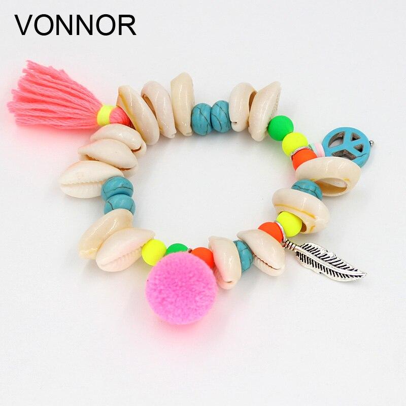 VONNOR Bracelets Women Bohemian Bracelet Shells Tassel Colorful Beaded Strand Bracelets Summer Beach Female Jewelry Accessories