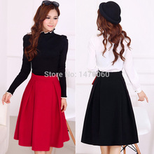 Women's Vintage High Waist Woolen Knee Length A-line Skirt
