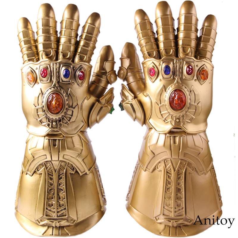 High Quality Avengers Infinity War Glove Cosplay Thanos Infinite Gloves with LED Light PVC Action Figure Collectible Model Toy