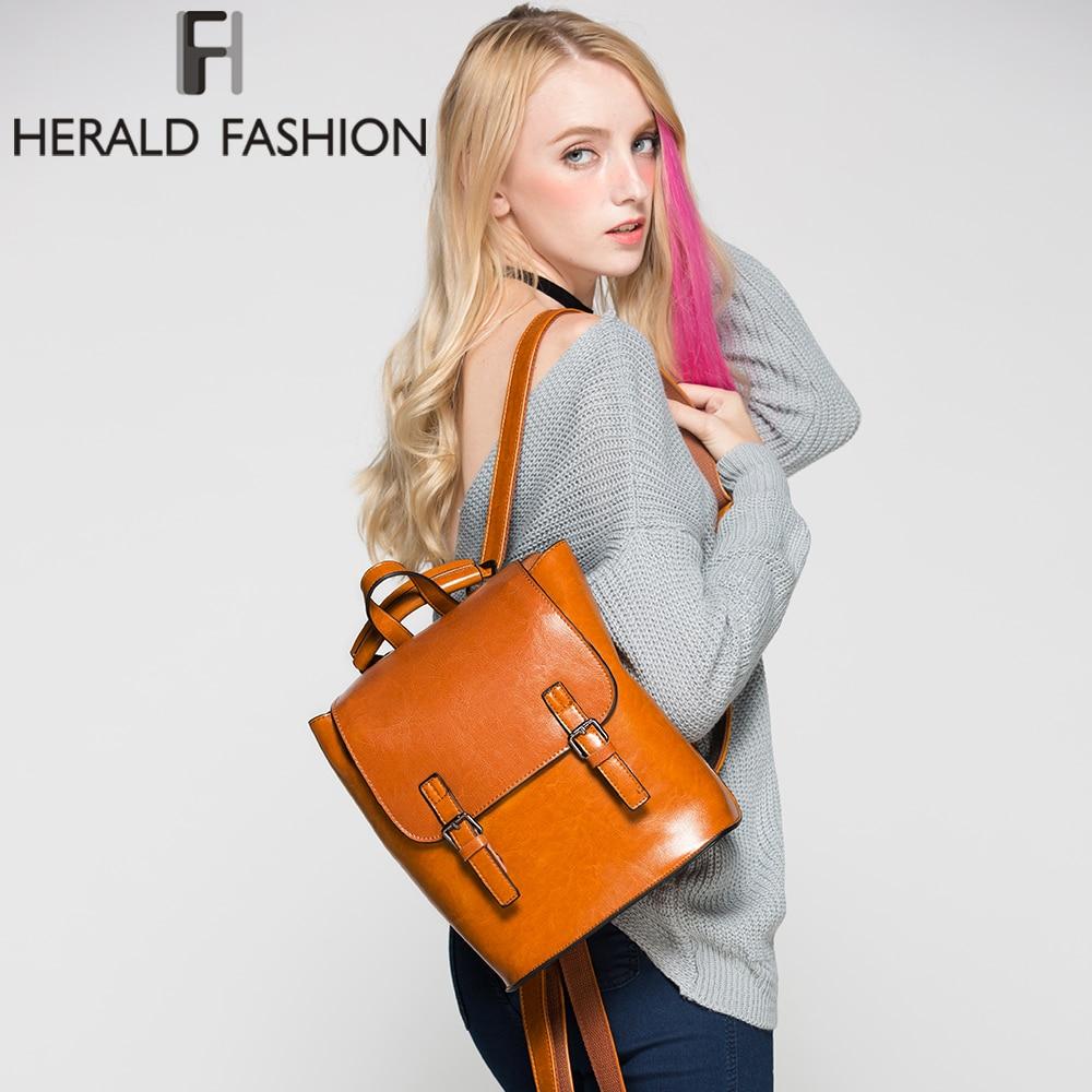 HERALD моды натуральная кожа рюкзак Винтаж Колледж школьный рюкзак для девочки-подростка Для женщин натуральный кожаный рюкзак