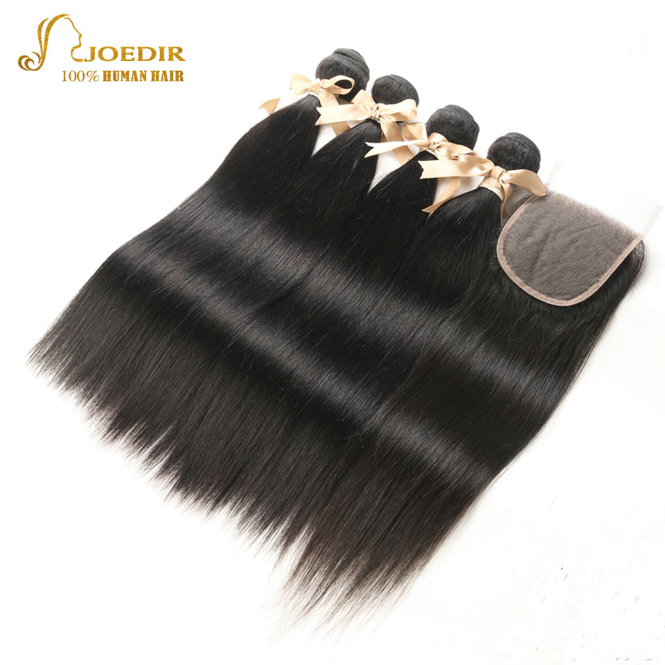 Joedir Peruvian Hair 4 Bundles With 4x4 Lace Closure 8 To 26 Inch Straight 100% Human Hair Extensions Natural Black Color