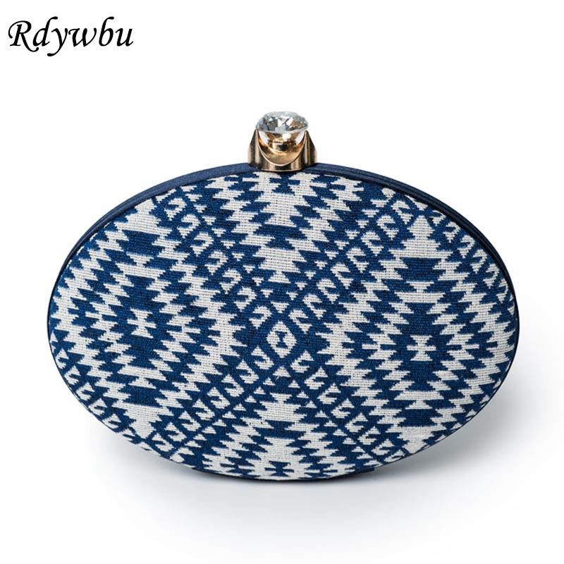 Rdywbu Luxury Circular Geometric Evening Bag Women's National Diamonds Chain Clutches Round Party Cheongsam Shoulder Bag B647