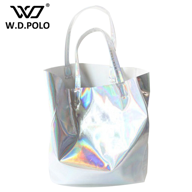 W.D.POLO Mirror Pu leather Laser hand bags hot selling girl beach bags lady tote in high capacity fashion new design chic M1748