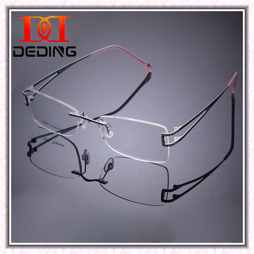 2fffd5a35c 2014 Latest Rimless Titanium Frame High grade Diamond Optical Myopia Glasses  Titanio Rimless Diamonds Alto grau de Oculos DD0455-in Eyewear Frames from  ...