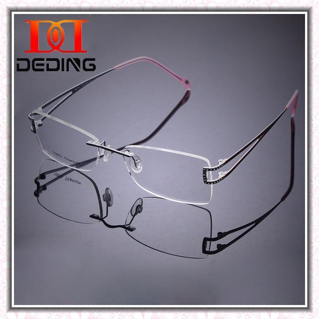 b90ff5aa13 2014 Latest Rimless Titanium Frame High-grade Diamond Optical Myopia Glasses  Titanio Rimless Diamonds Alto