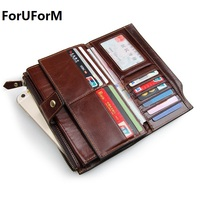 New Long Purses For Men Genuine Leather Men Wallets With Multi Card Holders Brown Cowhide Function