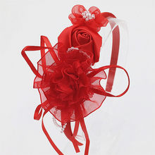 Fashion ribbon crystal bead chiffon Flower Head hoop girl head band rose chiffon pearlite Head Band Hairwear hair Accessories(China)