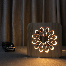 Flower 3D Light Wooden Decorative Night Lighting 3D Visual Desk Table Lamp USB Decor Nightlight Kid Child Bedroom Gift IY801101 недорого