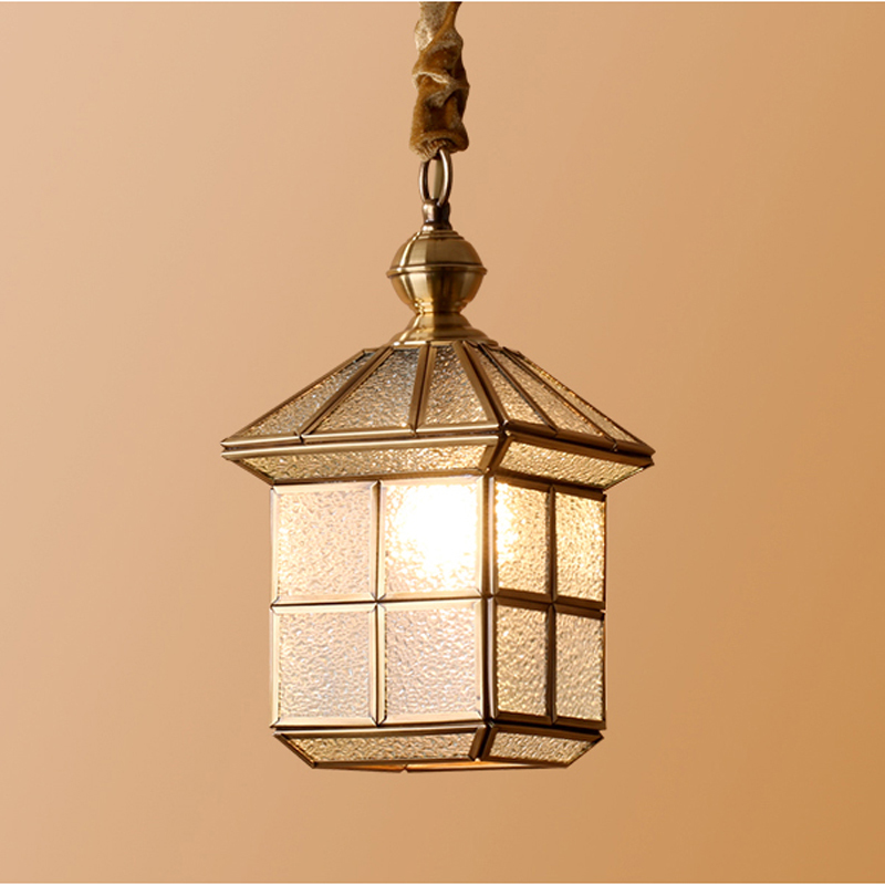 American Vintage Single Head Copper Pendant Light E27 Modern Creative Glass Shade Restaurant Bedroom Hanging Lamp Lighting PL597 light bulb pendant light copper glass restaurant pendant light single pendant light vintage retro abajur american style 2016 new