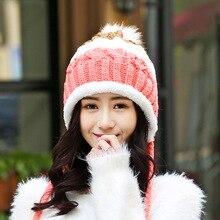 Winter new tide cute autumn and winter hats for women plus velvet knit hat ladies earmuffs wool