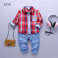 2017 Spring of children's clothing sets wear new baby boy clothes plaidshirt suits 0 to 4 years old children
