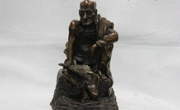 Collectible Bronze Lion Statue S1065 14 Classic Pure Copper Bronze Temple Daoji Mad Buddhist Monk Ji Gong God Buddha (B0328)