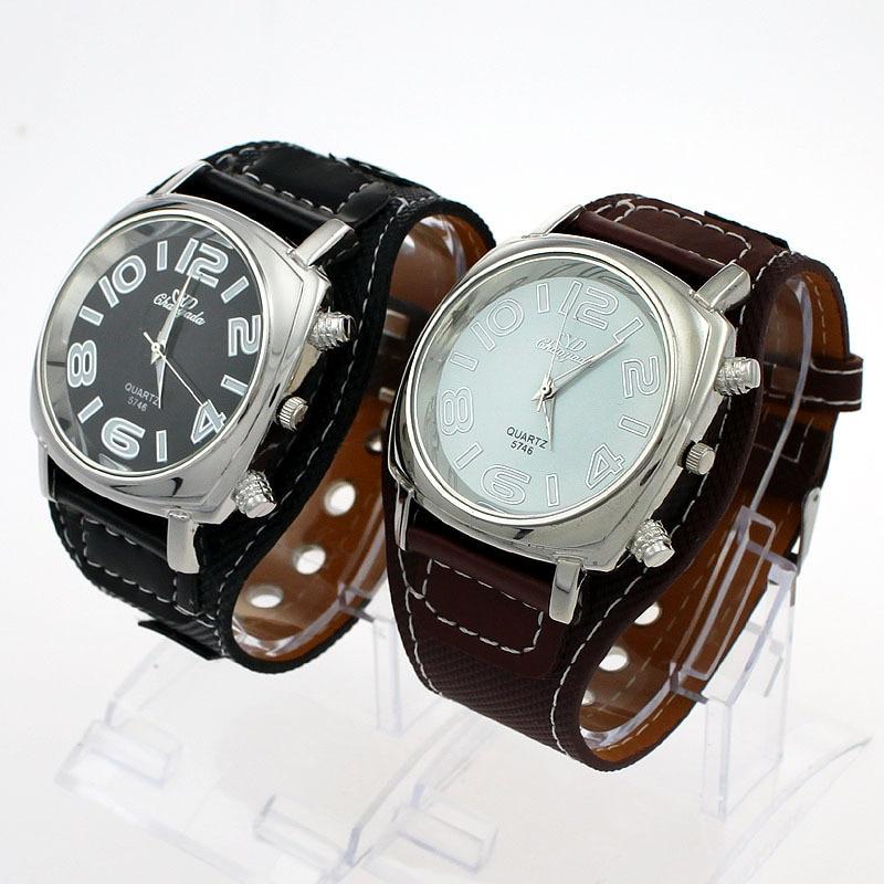 3a2d7ed3b35 Maior Dial Ampla Pulseira de Couro Do Falso Dos Homens de Moda de Luxo  Mulheres Relógio de Senhora Quartz Rodada Unisex Relógio Vestido Relógio de  Pulso ...