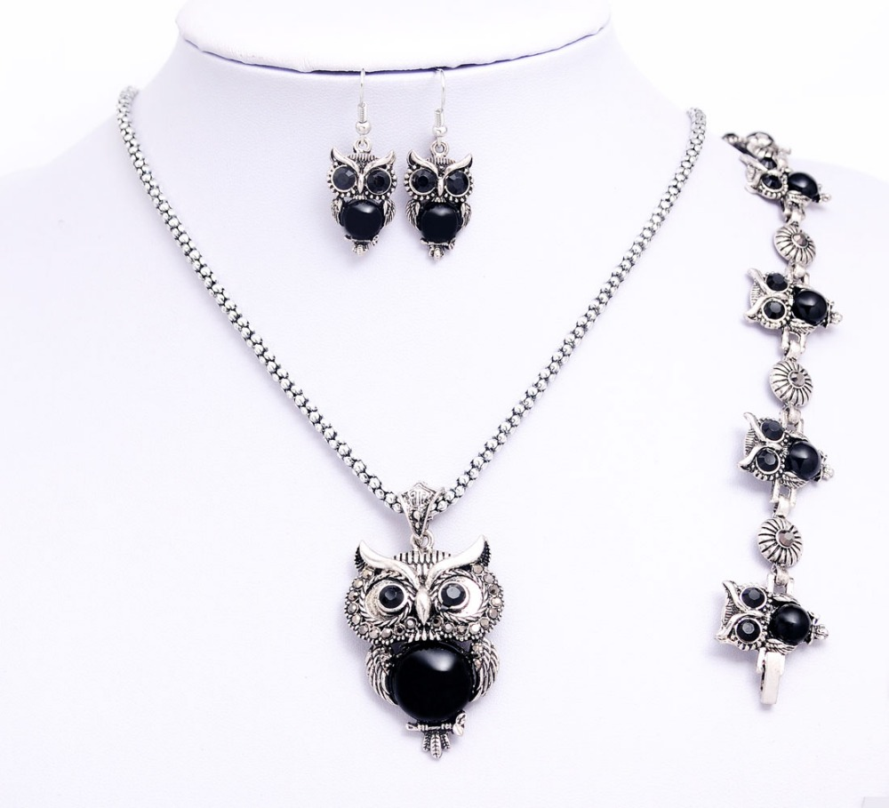 Trendy Stone Owl Jewelry Sets for Women Wedding Party Boho Necklace Earrings Bracelet African Jewelry Sets valentines day gift