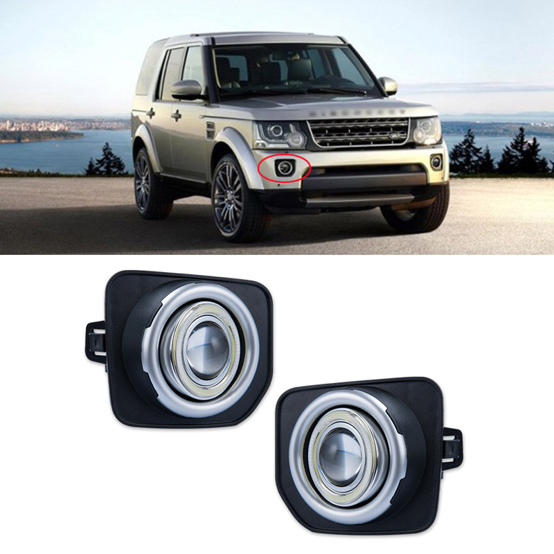 Ownsun Super COB Fog Light Angel Eye Bumper Projector Lens for  Land Rover Discovery 4 2014-2016 ownsun innovative super cob fog light angel eye bumper cover for skoda fabia scout