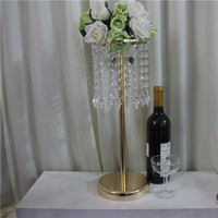 Golden Silver Crystal ornaments Home Wedding flower vase stand crystal wedding table centerpiece party event decoration