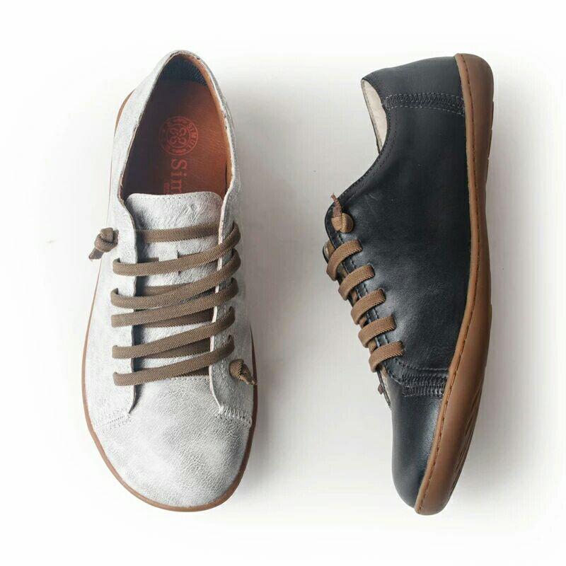 Chaussures d'été femme baleriny sans lacet femme chaussures plates printemps femme cuir décontracté groupe pieds nus chaussures sneakers - 6