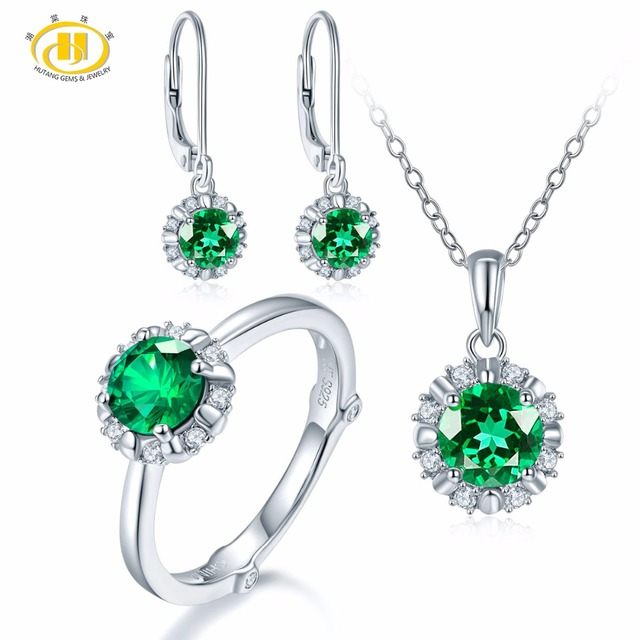 Hutang Natural May Birthstone Created Emerald Solid 925 Sterling Silver Ring Pendant Earrings Gemstone Jewelry Sets