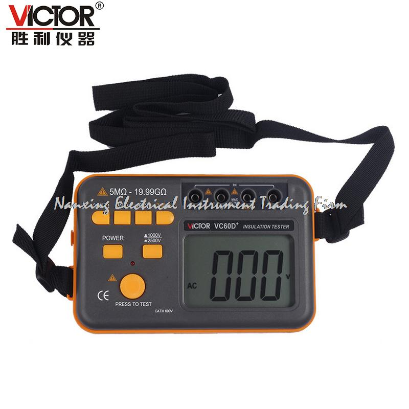 Fast arrival VICTOR VC60D + Digital Insulation Tester 1000V 2500V, Megger MegOhm Resistance Meter as907a digital insulation tester megger with voltage range 500v 1000v 2500v