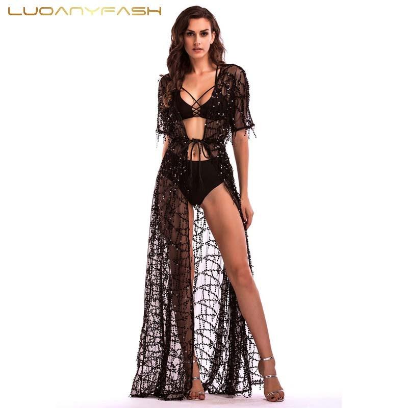 Luoanyfash Long Dress Sequined Fringed Dress Women Sexy Slit Dating Perspective gold tassel Evening Vestidos Female
