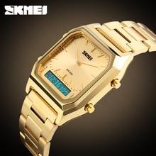 2017 Skmei Top Marque De Luxe Hommes Sport Montre-Bracelet Des Hommes Or Carré Numérique Montres Homme Montre-Bracelet Homme Horloge relogio masculino