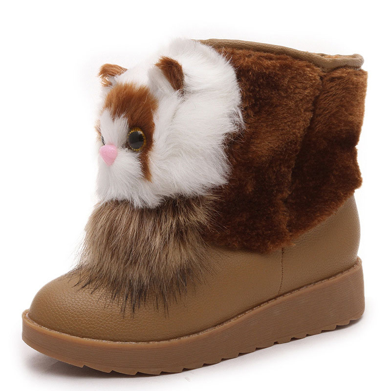 2017 Female Women Snow Boots Cute Cartoon Cat Winter Boots Fashion Round Toe Ankle Boots Flat Botas Fur Warm Women Casual Shoes aphixta women winter boots flat with warm platform snow ankle boots women shoes round toe female fur butterfly knot botas mujer