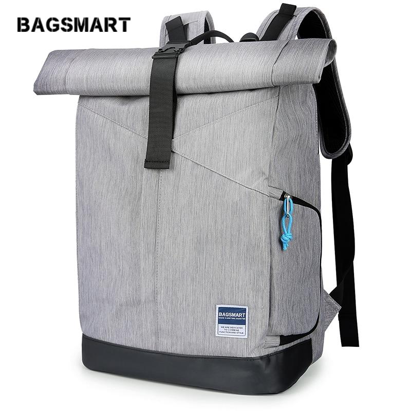 BAGSMART Travel Laptop Backpack, Roll-Top Backpack, Water Resistant Daypack for Men &