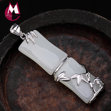 2019 Mothers Day Jade cuarzo piedra natural Bamboo Pendant 100% Real 925 Sterling Silver Women Necklace pendant Jewelry P016