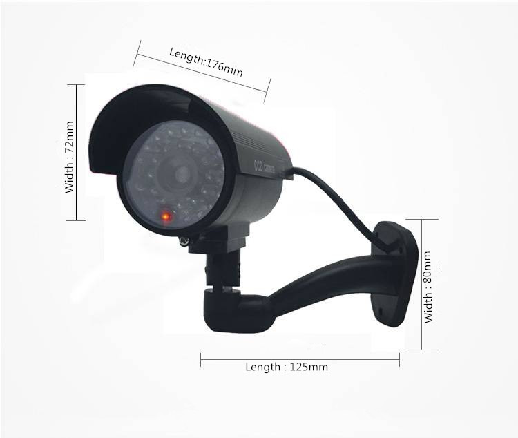 Fake Dummy Camera Outdoor Indoor Waterproof Security CCTV Surveillance Camera With LED light sliver black