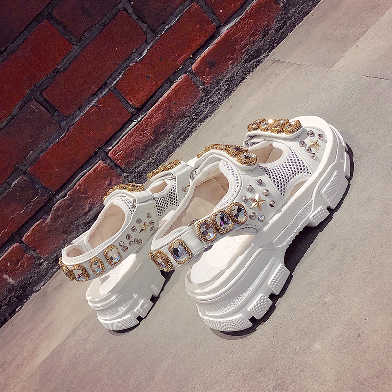 Hollow out open-toed women sandals fashion diamond beads women outdoor wedge shoes Women Waterproof platform Summer shoes 2019