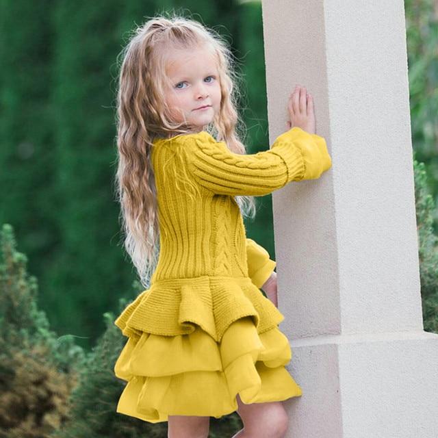 Новый модный детский вязаный свитер для девочек, зимние пуловеры вязаный крючком пачка топы, одежда, roupas infantis menina
