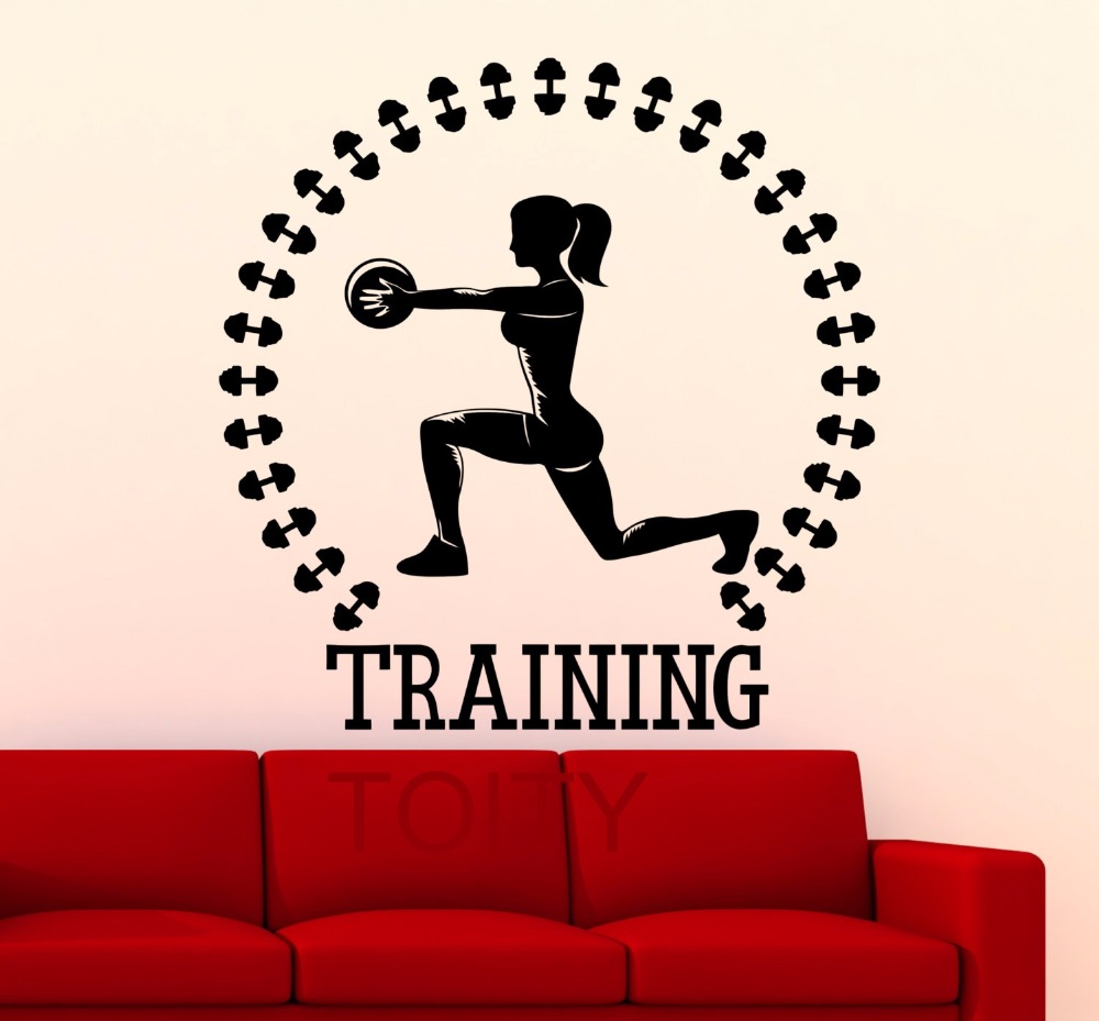 Training Gym Wall Sticker Sports Fitness Vinyl Decal Dorm Studio Home Interior Decorative Art Mural