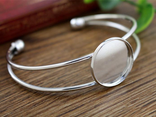 High Quality  20mm Silver Plated Bangle Base Bracelet Blank Findings Tray Bezel Setting Cabochon Cameo  (L6-05)High Quality  20mm Silver Plated Bangle Base Bracelet Blank Findings Tray Bezel Setting Cabochon Cameo  (L6-05)