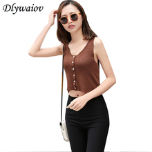 Sleeveless Knitted Women Button Cardigan Vest Sexy Tank Top Femme Slim Elasticity Lurex Tops Fashion Solid Shirt Female New summer sleeveless women tank top high elasticity knitted ice silk top fashion ribbed knitwear sweater vest cozy female tee shirt