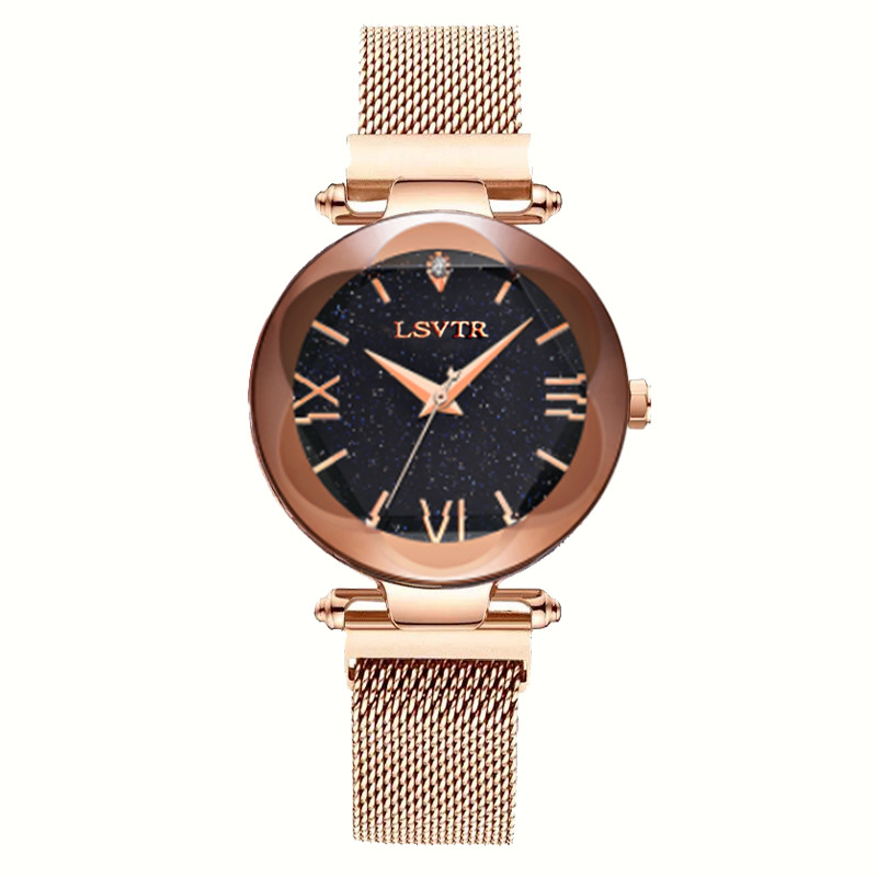Luxury Rose Gold Women Watch Magnet Starry Sky Wrist Watch 2019 Ladies Roman Numeral Wristwatch reloj mujer relogio feminino 1