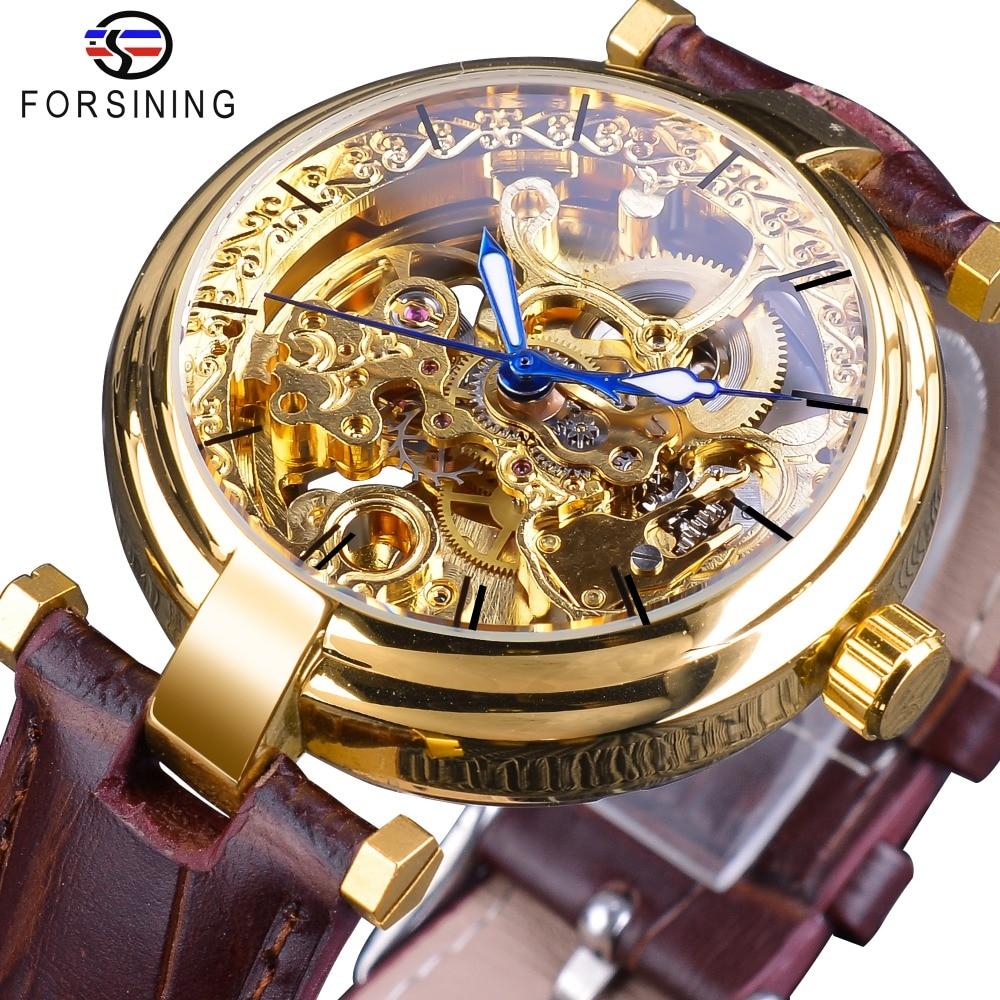 Relógios de Ouro Mãos dos Homens Forsining Moda Azul Automático Auto-vento Relógios Marca Superior Marrom Couro Genuíno Luminosa Mãos 2020