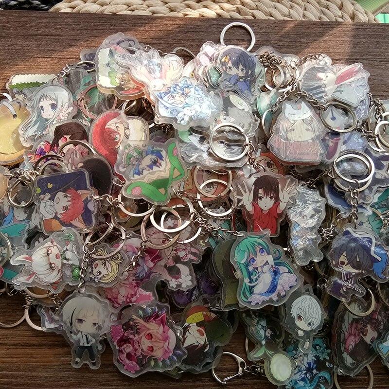 10pcs/set Mixed Styles Many Anime Touken Ranbu Online Eromanga Sensei Bungo Stray Dogs Umaru Saber doubleside Print Keychain