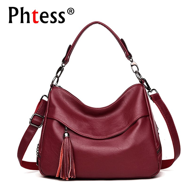 2018 women leather handbags lxuury designer crossbody bags female sac a main vintage tassel shoulder bags ladies hand bag bolsas leftside fashionable 2017 women tassel designer rivet boston bag female handbag woman hand bags shoulder bag with wide strap