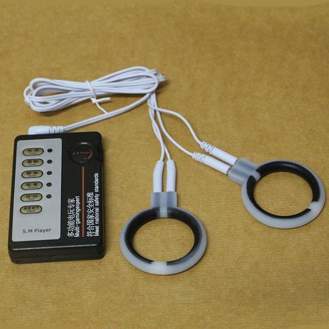 Nuevo Choque Eléctrico 2 unids Anillos de Pene de Silicona, Cock Ring Kit Juguetes de Temática Médica, Electro Estimulación Para El Hombre Productos Eróticos