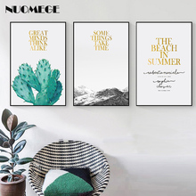 Minimalist Wall Art Snow Mountain Landscape Cactus Canvas Painting Modern Quotes Poster Print Wall Picture Home Decoration