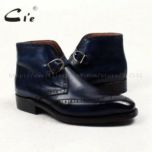 Image 5 - cie square toe full brogues medallion patina blue 100%genuine calf leather boot goodyear welted buckle handmade mens boot  A91