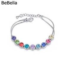 BeBella красочные круглый горный хрусталь браслет с чешского хрусталя ювелирные изделия для девочек женщин Рождественский подарок