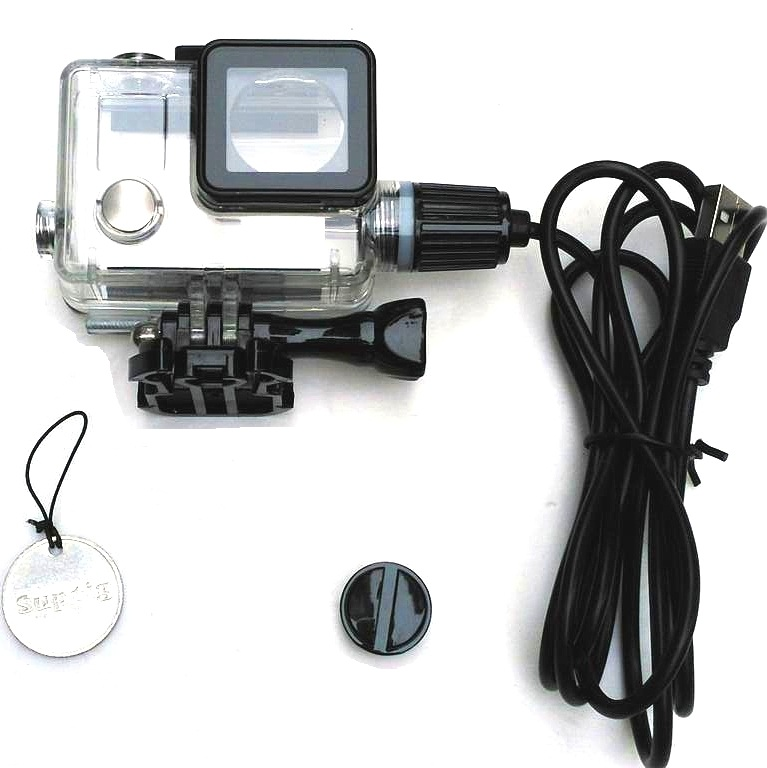 Suptig Action Camera Accessories Motocycle Chargering Waterproof Case For Gopro Hero 4 / 3+ Charger Shell Housing + USB Cable