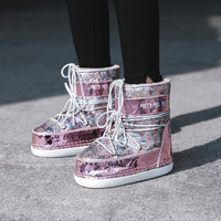 Pink Bling Glitter Women Snow Boots Sequined Warm Fur Inside Women Ankle Boots Casual Ladies Space