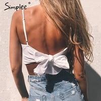 Simplee Gürtel lace up leibchen tank top tees frauen Sommer strand bogen weibliche cami crop top Sexy backless sleeveless kurze top
