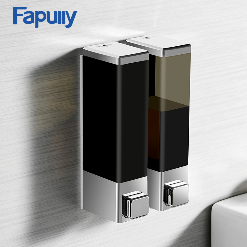 Fapully Liquid Soap Dispenser 250 Double Wall Mounted Black Chrome Square Bathroom Accessories Hardware Convenience Modern