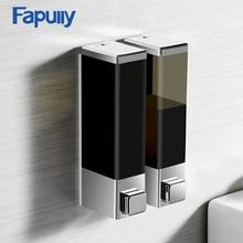Fapully жидкого мыла 250 двойной настенный черный хром квадратный Аксессуары для ванной комнаты оборудования удобство современный P144