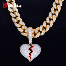 With 20MM Cuban Chain Gold Color Broken Heart Pendants Necklaces Bling AAA Zircon Mens Hip Hop Jewelry For Gift