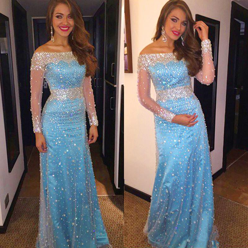 Beautiful Long Sleeve   Evening     Dress   2017 Boat Neck Floor Length Mermaid Beading Prom   Dresses   Formal   Dresses   vestido de festa